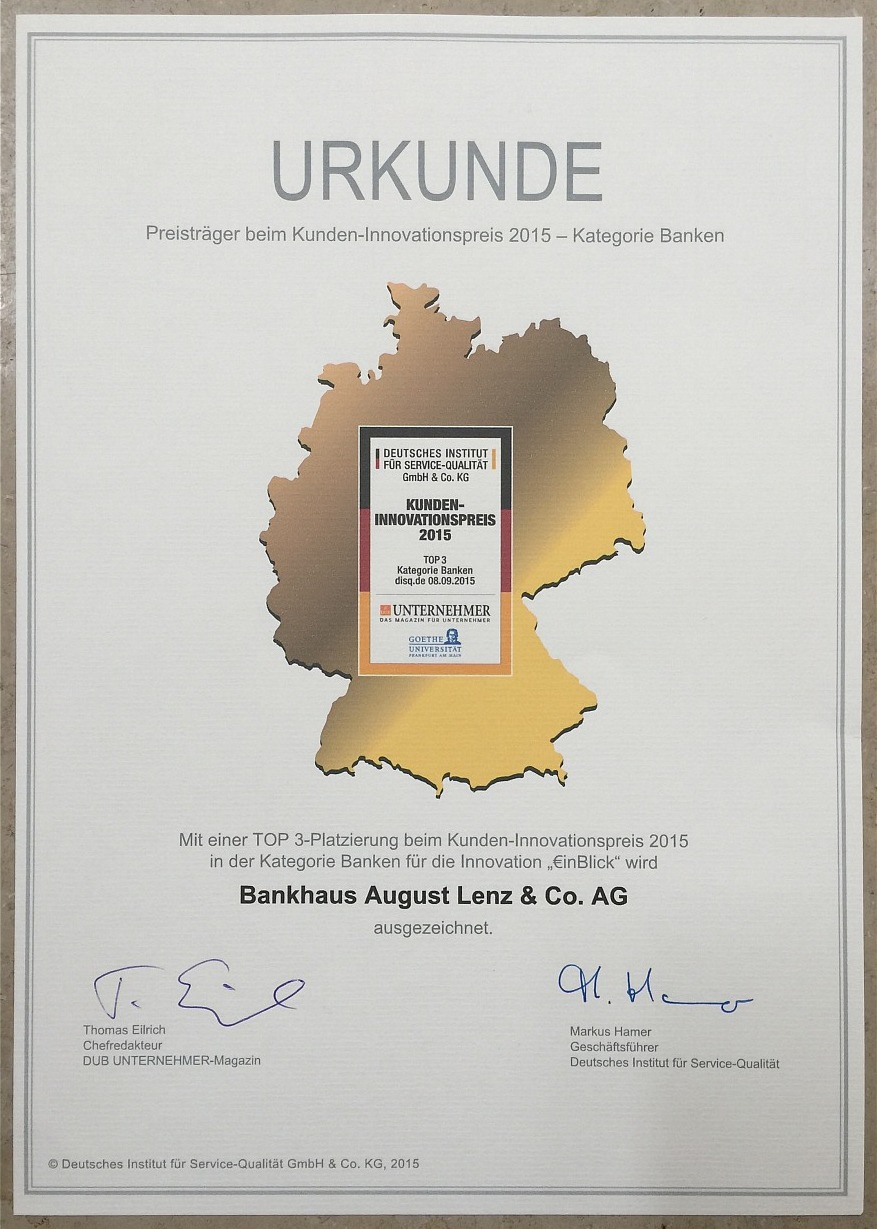 Urkunde - Kundeninnovationspreis 2015